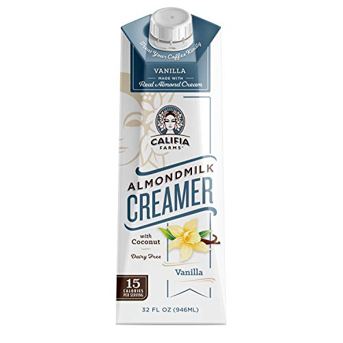 Califia Farms Vanilla Almondmilk Coffee Creamer with Coconut Cream, 32 Oz (Pack of 6) | Dairy Free | Plant Based | Nut Milk | Vegan | Non-GMO