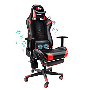 🎮【Is it ergonomic?】The shape follows the handsomeness of the racing seat,which shows the vitality of E-sports. The high-straight backrest design meets the recognized right-angle sitting posture in the medical field.The gaming chair strengthens the se...