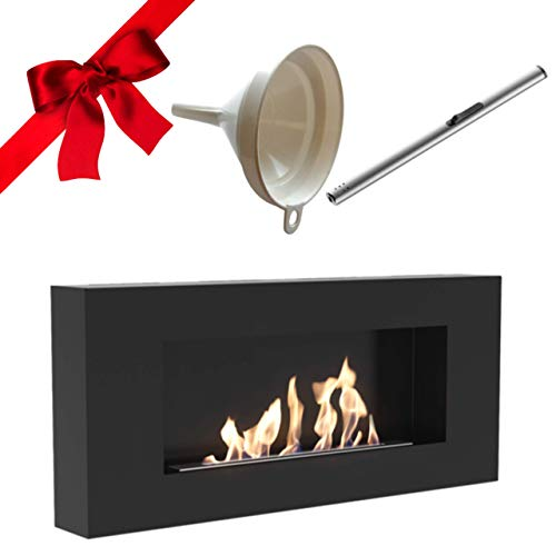 Delta Flat Bio Ethanol Fireplace, Wall Mounted, Indoor, 90cm, Matte Black, TÜV Certified, Gift Pack with Funnel and Lighter