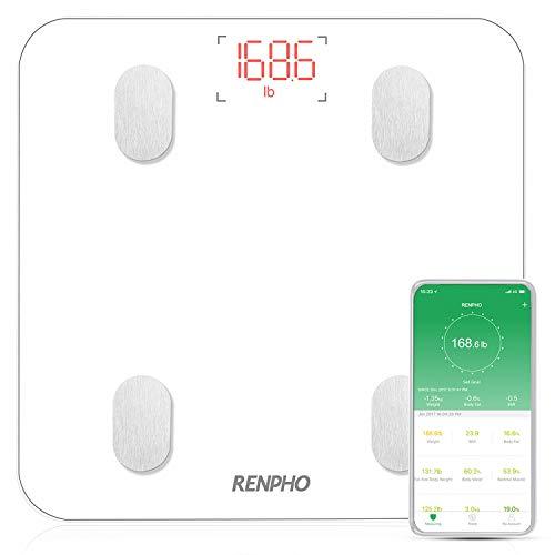 Renpho Analyse Digitale Personenweegschaal | Meet 11 verschillende lichaamswaarden | Download de Renpho-app en synchroniseer je gegevens op je smartphone | Compatibel voor smartphones met Bluetooth 4.0 en besturingssysteem Android 4.5 of hoger | Maximum draagkracht 180 kg | Inclusief 3 AAA-batterijen