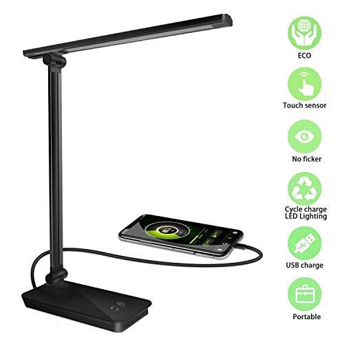 Phiraggit LED Schreibtischlampe,Büro-/ Tischleuchte,30 LED USB Schreibtischlampe Metall Tageslichtlampe mit 3 Beleuchtungsmodelle 5 Farbtemperatur Touch Steuerung, augenschonende LED, Energieeffizien