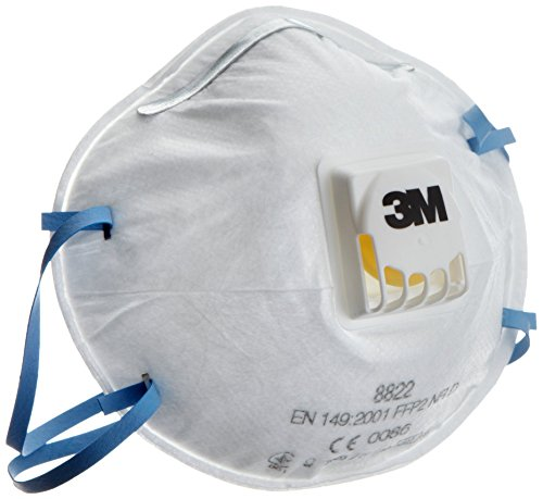 3M 8822 - Respiratore monouso, FFP2 NR D, con valvola, Pacco da 10 Pezzi