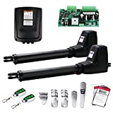 TOPENS AT1202 Automatic Gate Opener Kit Heavy Duty Dual Gate Operator for Dual Swing Gates Up to 18 Feet or 880 Pounds Gate Motor AC Powered
