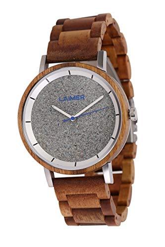 LAiMER Holzuhr - Armbanduhr Ludwig aus Massivholz - analoge Herren Quarzuhr mit Zifferblatt aus Granit & Leuchtzeiger - Ø 42mm - Zero Waste Verpackung aus Naturholz