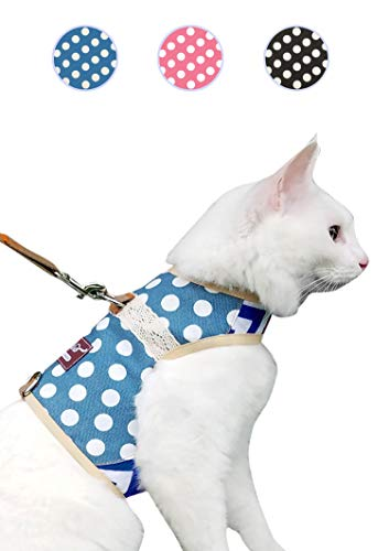 Yizhi Miaow Cat Harness and Leash for Walking Escape Proof Large, Adjustable Cat Walking Vest Harness, Cat Jacket Polka Dot Blue