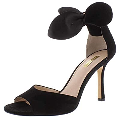 Suede High Heel Open Toe China The heel height is 3 3/4 inches and the color is Black Eco Kidsuede.