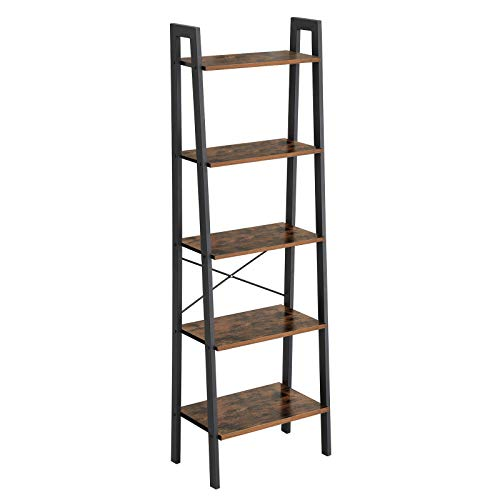 VASAGLE Industrial Ladder Shelf, 5-Tier Bookshelf, Bookcase and Storage Rack, Wood Look Accent Furniture with Metal...