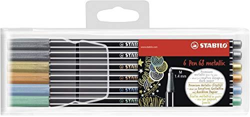 Pennarello Premium Metallizzato - STABILO Pen 68 metallic - Astuccio da 6 - Colori assortiti