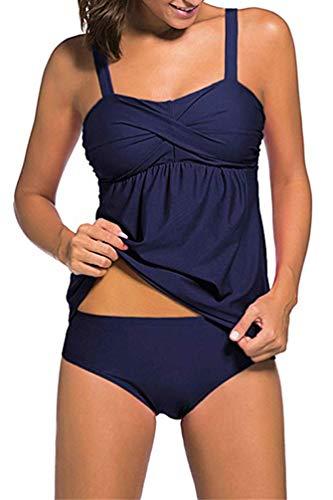 OLIPHEE Damen Zweiteilig Tankini Bikini Set Bademode Bandeau Schwimmanzug mit Slip Dunkelblau 2XL