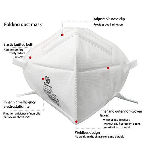 Fesjoy Maschera KN95, 10 pezzi di filtrazione al 95% per gas di scarico/allergie/polline / PM2.5 / corsa/ciclismo e attività all'aperto