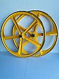 R4 29' BMX Cruiser Bicycle 5-Spoke Mag Alloy Wheel Set W/Freewheel (Yellow)