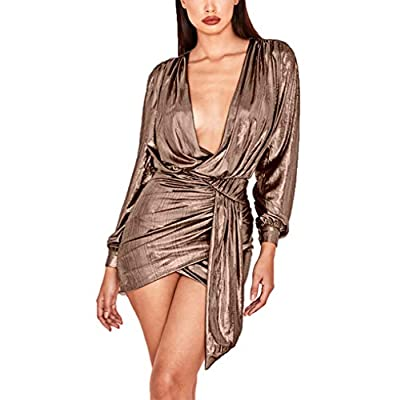Sexy design in the front, the dress may be more suitable for PETITE WOMEN, please refer to the dress length in size chart before ordering Women's sexy wrap front long sleeve metallic glitter bodycon frill dress with waist tie detail will ensure you s...