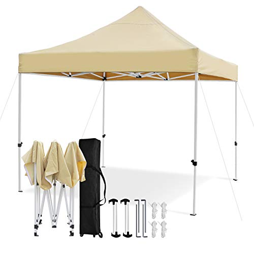 Leader Accessories Premium 10' x 10' Pop up Canopy Tent Commercial Instant Shelter Straight Leg with Wheeled Carry Bag, Beige