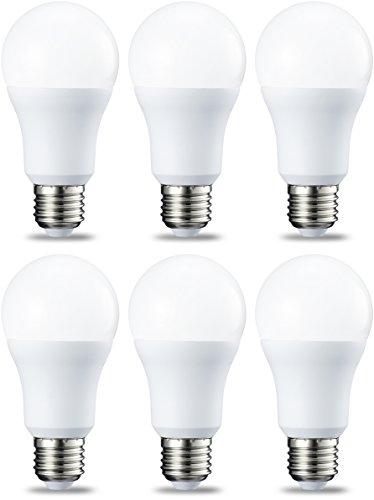 AmazonBasics Lampadina LED E27, 10W (equivalenti a 75W), Luce Bianca Fredda - Pacco da 6