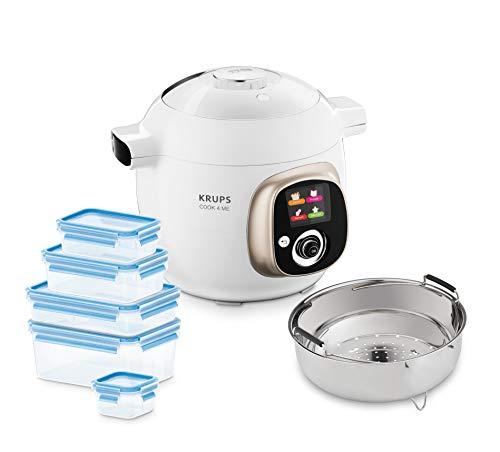 Krups CZ7001.GO Cook4Me Multikocher inkl. 5-teiliges Emsa Clip und Close Frischhaltedosen-Set (1200 Watt, Dampfgareinsatz, 6 Liter Fassungsvermögen, 50 vorinstallierte Rezepte) weiß/grau