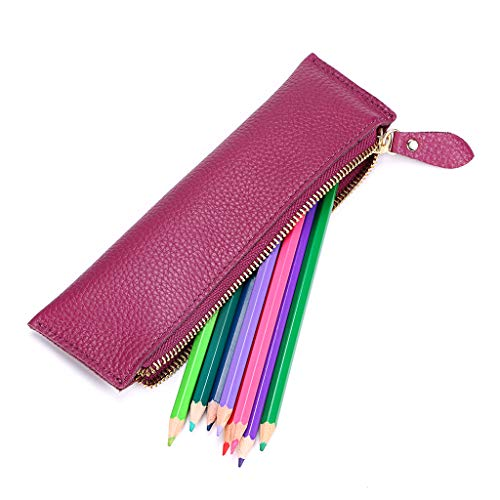 Btsky, Astuccio portapenne in vera pelle, vintage, morbido, per oggetti di cancelleria, per studenti, uomini d'affari e artisti. Purple