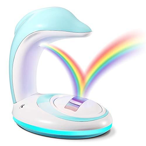 Luce LED arcobaleno, CrazyFire proiettore arcobaleno ricaricabile, luci decorative romantiche, lampada ideale per bambini (delfino)