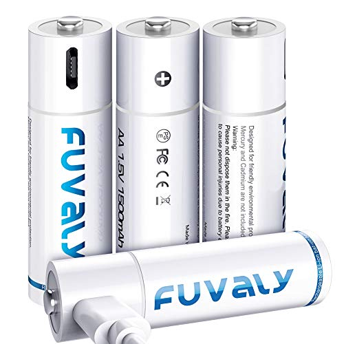 USB Rechargeable AA Batteries 1500mAh High Capacity 1.5V Fast Charging Lithium Rechargeable Batteries with 4 in 1 USB Charging Cable can be Charged Either by 5V Charger or USB FUVALY (4 Pack)