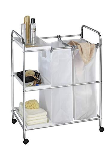 Dekoleidenschaft Wäschewagen aus verchromtem Metall mit 2 herausnehmbaren Wäschesäcken und 3 Regalfächern, Haushaltswagen, Badwagen, Küchenwagen