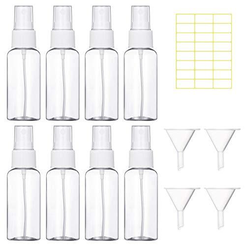Bottiglie Spray Vuoto Trasparente Flacone Spray Plastica Fine Nebbia Bottiglia Set da Viaggio, 8 Pezzi (30 ML, Bianco)