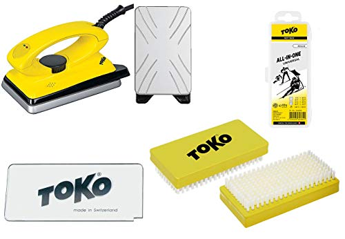Toko, cera per sci, set di 4 pezzi con ferro da stiro per cera, per sci alpino, sci nordico, snowboard