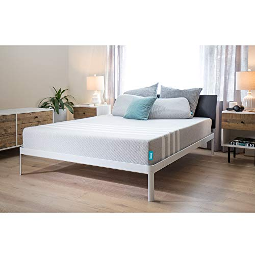 "Leesa 10"" Memory Foam Mattress in a Box, Luxury CertiPUR-US Certified 3 Layer Foam Construction, Queen, Gray & White"