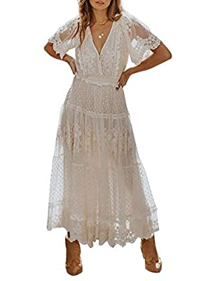 Hidden Zipper Closure Design:This lace maxi dress has deep v neck, short sleeves,floral lace fabrics and maxi long length cut.With unique design is suitable for almost all casual or semi-formal occasions. Occasion: Perfect for Photoshoot, Photography...