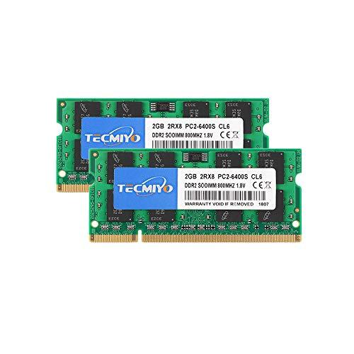 TECMIYO 4GB Kit (2x2GB) PC2 6400 2Rx8 PC2-6400S CL6 DDR2 SODIMM 800MHZ 1.8V DDR2-800 200pin Non-ECC Unbuffered SODIMM Laptop Memory Ram for iMac Intel, AMD System