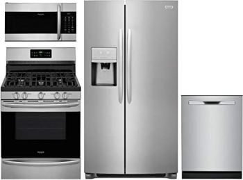 """Frigidaire 4 Piece Kitchen Appliances Package with FGSC2335TF 36"""" Side by Side Refrigerator FGGF3036TF 30"""" Gas Range FGMV176NTF 30"""" Over the Range Microwave and FGIP2468UF 24"""" Built In Fully Integrated Dishwasher in Stainless Steel"""