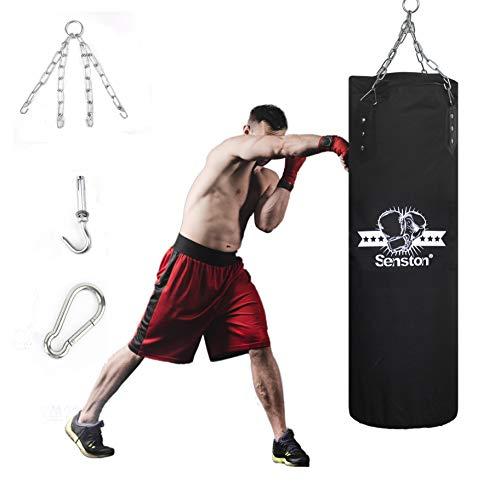 Senston Sac de Frappe Lourds Adulte Professionnel Sac de Boxe pour l'entraînement de Taekwondo, de Boxe et de Muay Thai, 100 X 45 CM