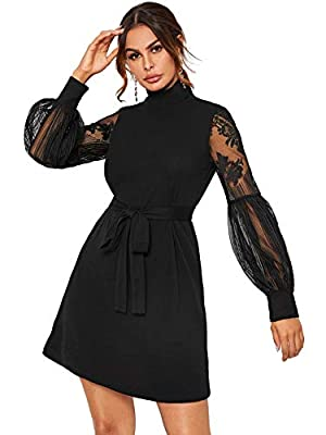 Fabric: Some stretch, breathable, comfy and soft Style: Solid lace lantern sleeve a line short women dress to show your elegant and charming style Design: Contrast lace, long lantern sleeve, bishop sleeve, high neck, stand collar, high waist, solid s...