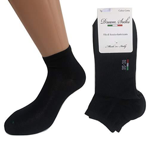 DREAM SOCKS 6 paia calzini corti alla caviglia in cotone filo di scozia elasticizzato,ultra leggero,prodotto MADE IN ITALY,modello unisex, vari assortimenti. (39/42, blu)