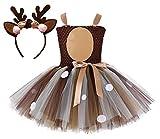 Colorfog Girls Kids Princess Christmas Deer Costume Dress Halloween Party Cosplay Fancy Dress (Xmas Deer,Small)