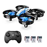 Holy Stone Mini Drone for Kids and Beginners RC Nano Quadcopter Indoor Small Helicopter Plane with Auto Hovering, 3D Flip, Headless Mode and 3 Batteries, Great Gift Toy for Boys and Girls, Blue
