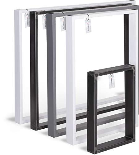 HOLZBRINK Tischkufen aus Vierkantprofilen 60x20 mm, Tischgestell 80x72 cm, Anthrazitgrau, 1 Stück, HLT-01-E-FF-7016