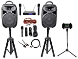 Rockville 8' iPhone/ipad/Laptop/TV Karaoke Machine/System+Wireless Mics+Stand
