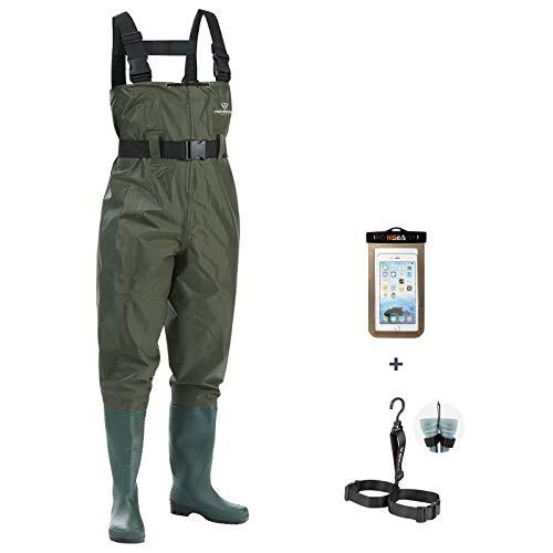 FISHINGSIR Waders de pêche avec Ceinture - 100% imperméable Nylon et PVC - Salopettes Taille 38 à 46