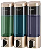 Bosharon Shower Soap Dispenser Wall Mount 3 Chamber for Home, Bath, Kitchen, Hotels, Restaurants. Shower and Lotion Dispenser (Gold)