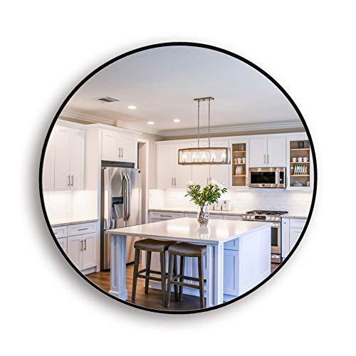 Muzilife Runder Spiegel 40 cm mit Schwarzem Metallrahmen Glas Wandspiegel mit Halterung zum Aufhängen in Wohn- und Badezimmer