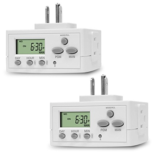 TOPGREENER Heavy Duty 7 Day Programmable Plug-In Digital Timer for Lights, Lamps, Electrical Outlets, Indoor | Grounded Outlet, Random and Daylight Savings Timer Switch | 120V, 15A, 1800W, 2 Pack