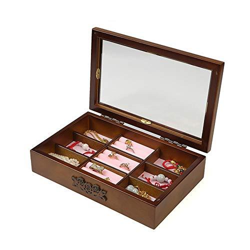 Vetrina per esposizione di gioielli Semplice scatola di immagazzinaggio di gioielli in legno retr per orecchini anelli collana orologi stoccaggio - regalo d'epoca per ragazze donne per collana bracci
