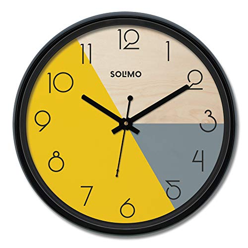 Amazon Brand - Solimo 12-inch Plastic & Glass Wall Clock - Pie (Silent Movement), Black