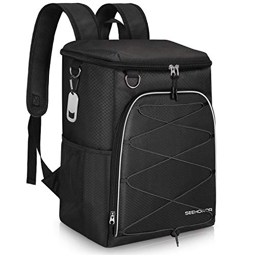 SEEHONOR Insulated Cooler Backpack Leakproof Soft Cooler Bag Lightweight Backpack Cooler for Lunch Picnic Fishing Hiking Camping Park Beach, 25 Cans