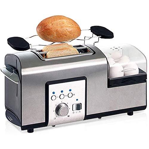 Dvonl Frühstücksset Toaster 2 Scheiben Toaster und Eierkocher, Edelstahl Toaster 2 in 1 Brot Toast und Ei-Frühstück Maker mit Grill - 7 Browning Einstellungen - Breite Slots Toaster - 1250 W - Silber