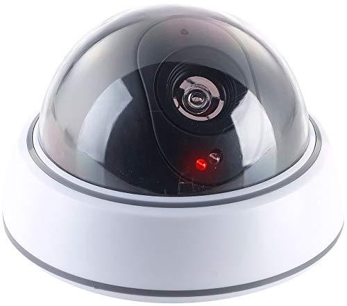 VisorTech Kamera Atrappe: Dome-Überwachungskamera-Attrappe mit durchsichtiger Kuppel und LED (Überwachungskamera Dummy)