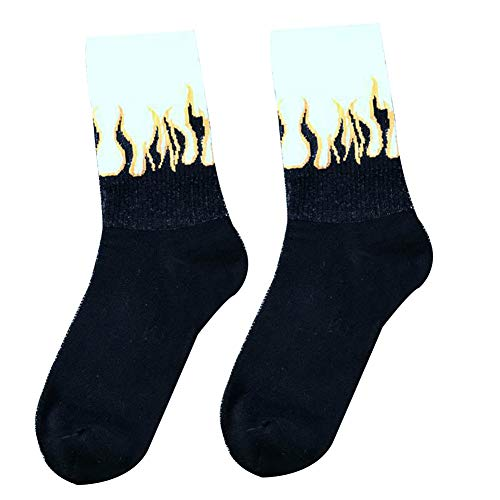Calzini Flame Soft Warm Cotton Elastici Medi Traspiranti Calzini Donna Uomo Flame Print Socks (3)