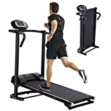 Folding Treadmill,Double Flywheel Solid Weighted Iron Wheel Walking Machine Mechanical Treadmill,Folding Walking Machine Fitness Equipment,LED Display【US Warehouse Shipment】