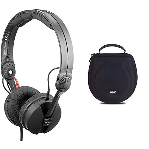 Sennheiser HD 25-1 II (basic edition) cuffie professionali dj + UDG Creator Headphone Case Large Black Custodia semirigida per cuffia, Nera