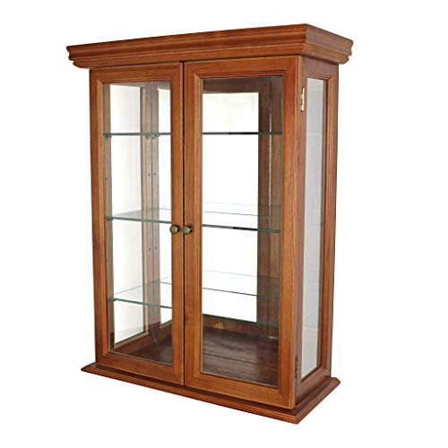 Design Toscano Country Tuscan Hardwood Glass Wall Mounted Storage Curio Cabinet, Brown