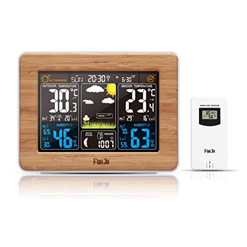Sanzenling FJ3365 -DCF écran Couleur Prévisions Horloge Bamboo électrique d'onde Horloge Multi-Fonction électronique RF Calendrier sans Fil au Royaume-Uni